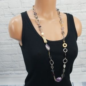 Lia Sophia Purple Silver Tone Long Necklace